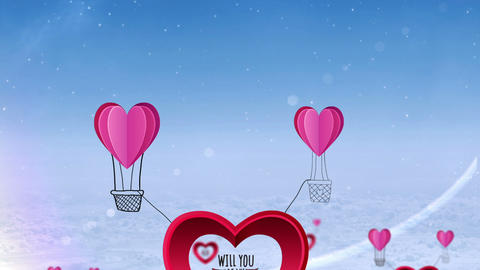 Happy valentines day vector with heart hot air balloon Animation