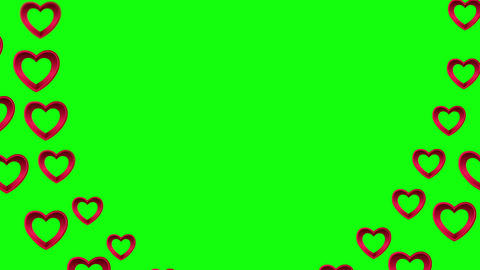 Valentines day vector with heart pattern on green background, Stock Animation