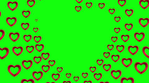 Valentines day vector with heart pattern on green background Animation