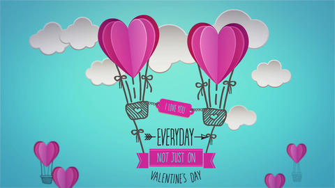 Happy valentines day vector with heart hot air balloons Animation