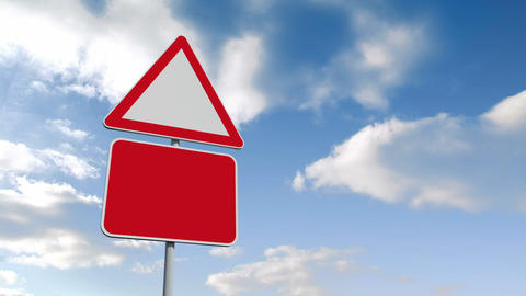 Road signs against blue sky Animation