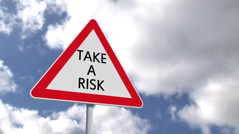 Take a risk sign against blue sky Animation