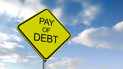 Pay off debt sign against blue sky Animation