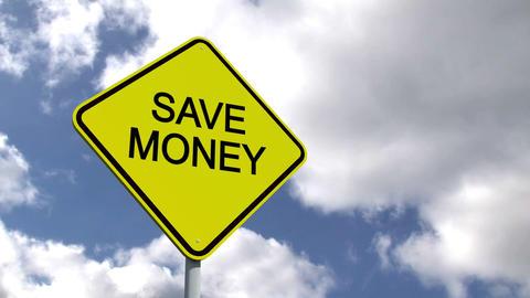 Save money sign against blue sky Animation