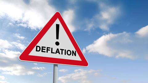 Deflation Ahead Sign Against Blue Sky stock footage