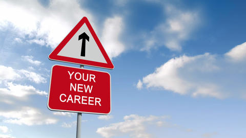 Your new career sign against blue sky Animation
