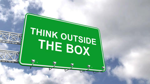 Think outside the box sign against blue sky Animation