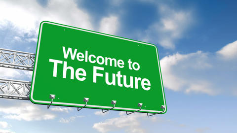 Welcome To The Future Sign Against Blue Sky stock footage