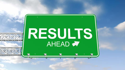 Results Ahead Sign Against Blue Sky stock footage