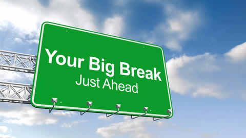 Your big break sign against blue sky Animation