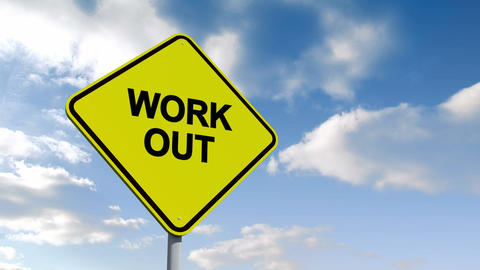 Work out sign against blue sky Animation