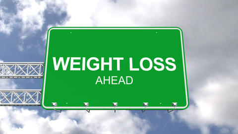 Weight loss ahead sign against blue sky Animation