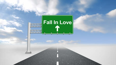 Fall in love sign over open road Animation