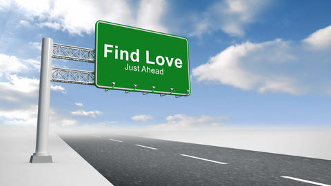 Find love sign over open road Animation