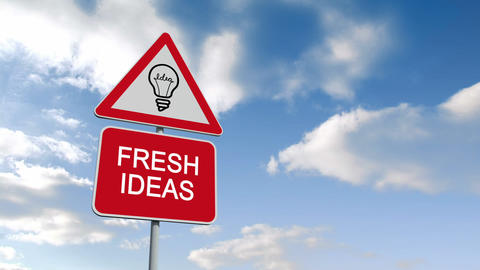 Fresh ideas sign against blue sky Animation