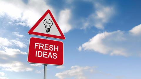 Fresh Ideas Sign Against Blue Sky stock footage