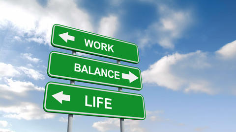 Work Life Balance Signs Against Blue Sky stock footage