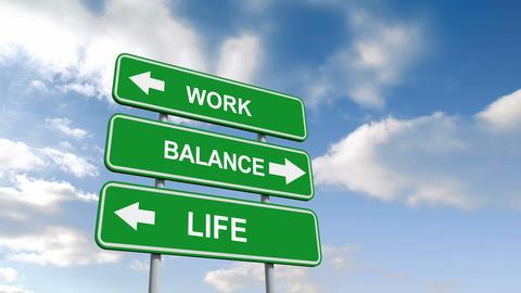 Work life balance signs against blue sky Animation