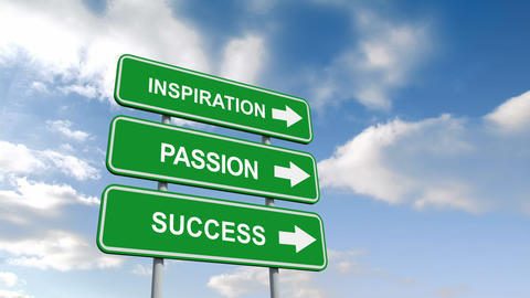 Inspiration passion and success signs against blue sky Animation
