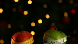 Apples Wrapped In Measuring Tape stock footage