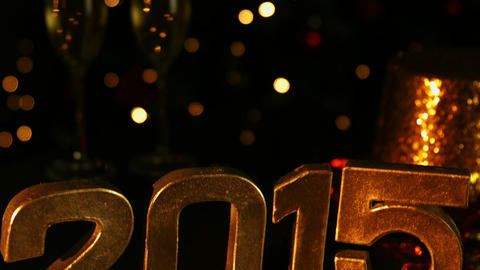 Golden Happy New Year 2015 stock footage
