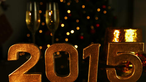 2015 Sign With Party Hat Behind It stock footage