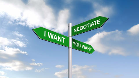 Negotiate Signpost Against Blue Sky stock footage
