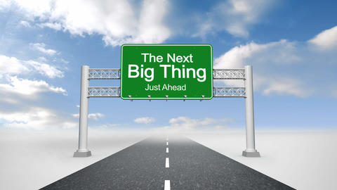 Next big thing road sign against blue sky ภาพเคลื่อนไหว