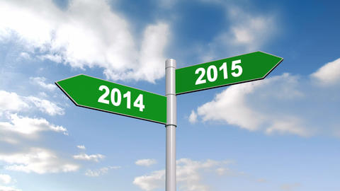 2014 and 2015 signpost against blue sky Animation