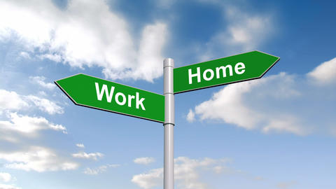Work home signpost against blue sky Animation