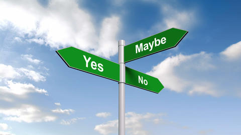 Yes no maybe signpost against blue sky Animation