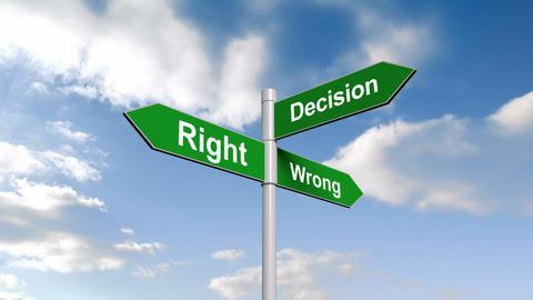 Right wrong decision signpost against blue sky Animation