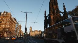 4K view of Princes Street in Edinburgh, Scotland Footage