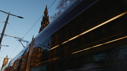 4K Tram on Princes Street in Edinburgh, Scotland Footage