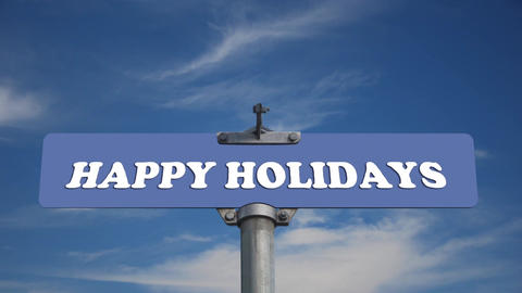 Happy holidays road sign with time lapse cloud bac Footage
