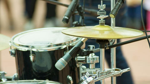 Drummer play music on drums and cymbal Footage