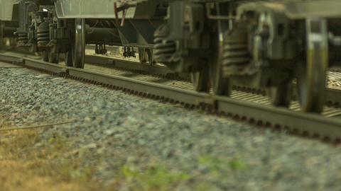 Freight train rides by rail, transports laden wago Footage