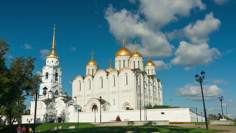 Golden Domes Of Uspensky Cathedral In Vladimir, Ti stock footage