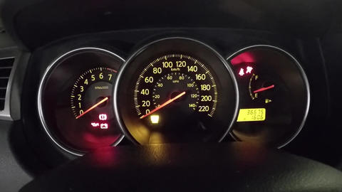Check light warning and start engine car with wide Footage