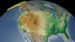 United States extruded. Bumps shaded Animation