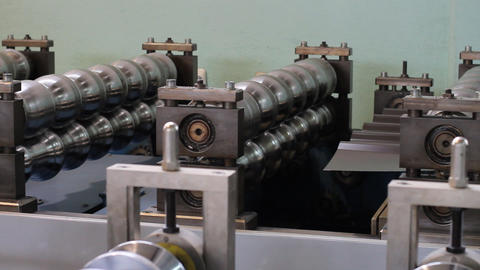 Automated machine making aluminium profiles Footage