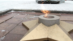The Eternal flame in honor of fallen soldiers Footage