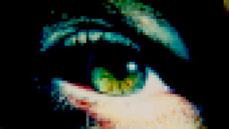 Eye sick green monster pixelated Footage