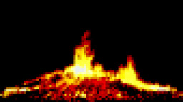 Fire pixelated big campfire Stock Video Footage