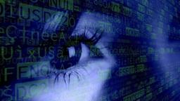 Eye woman blue macro computer symbols Footage
