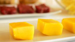 Mango Fruit Cut Square Panoramic stock footage