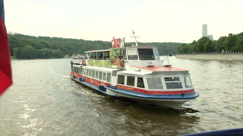 River in the summer with the riverboat and the Rus Footage