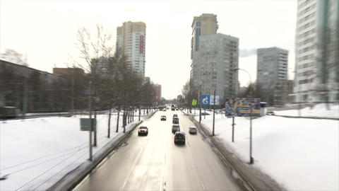 Winter road with cars in the winter day with fokus Footage
