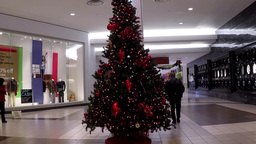 One corner of shopping mall with Christmas tree in Footage