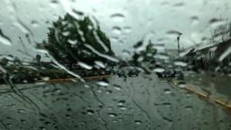 Driving On Raining Day, Focus On Window Rain Drop stock footage